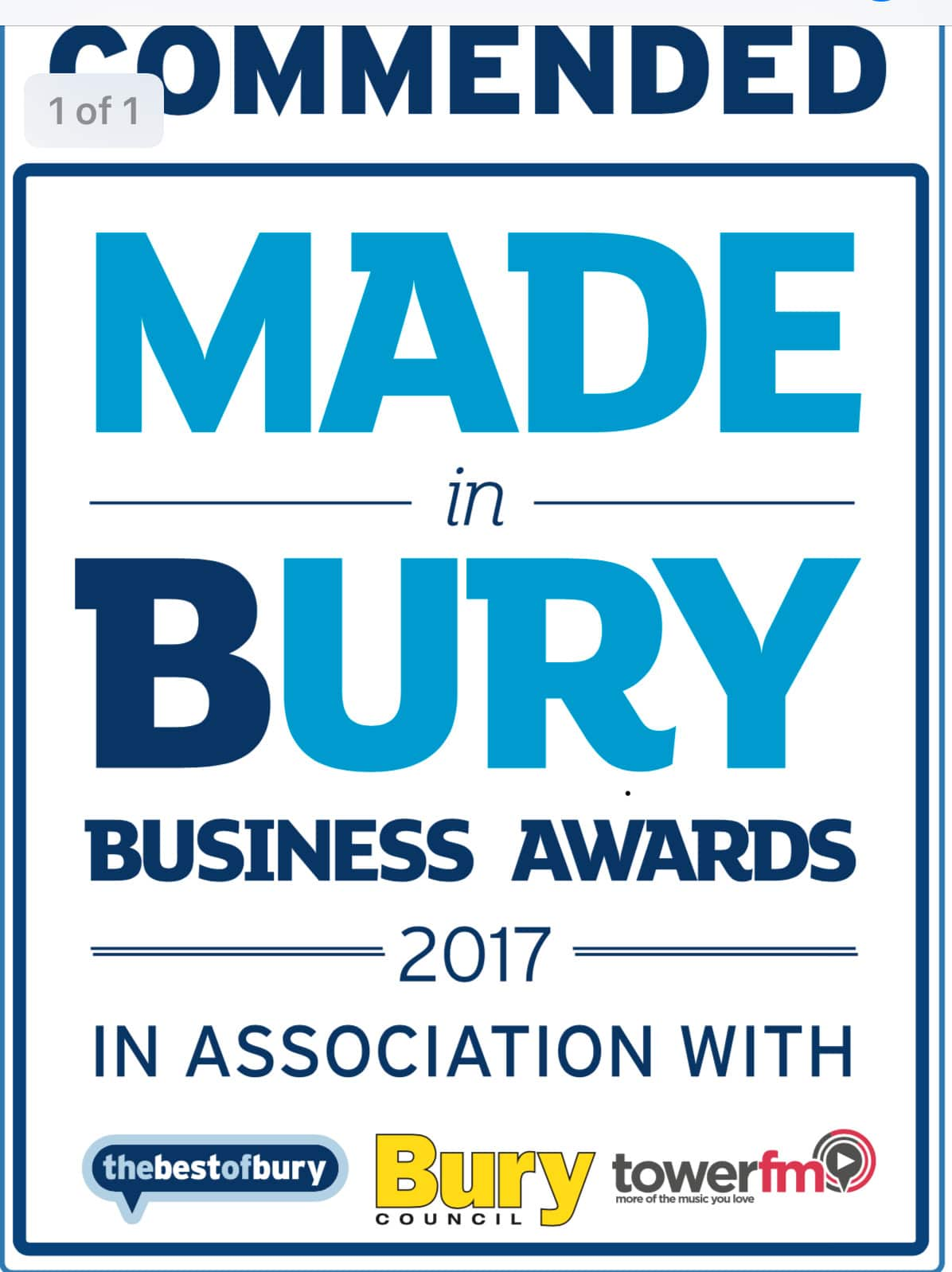 commended in 2017 Made in Bury Business Awards