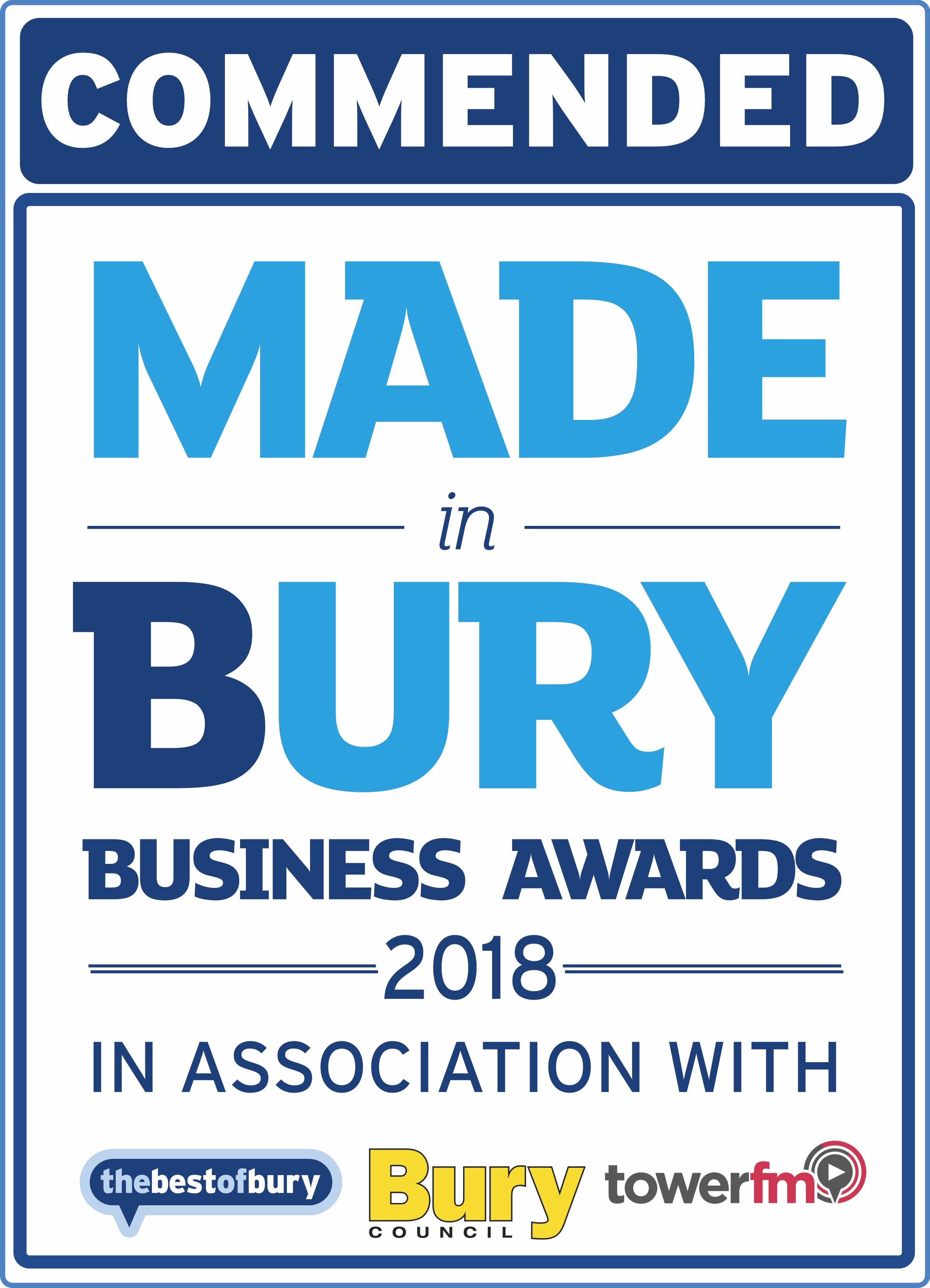 commended in 2018 Made in Bury Business Awards